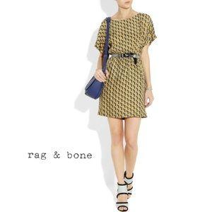 Rag & Bone Dalmeny geometric 100% silk dress 2/AU8
